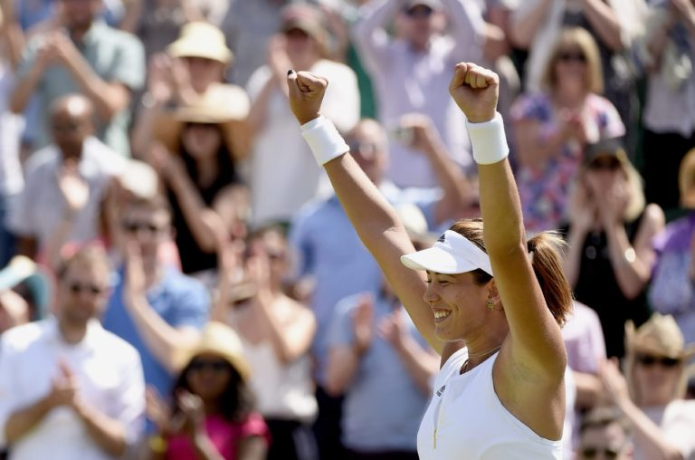 Fotografía de Garbine Muguruza celebrando una victoria en Wimbledon
