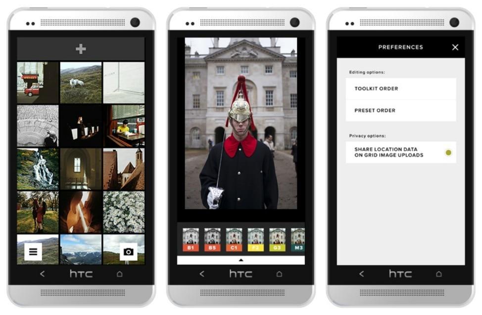 Ejemplos de VSCO en un móvil Android.