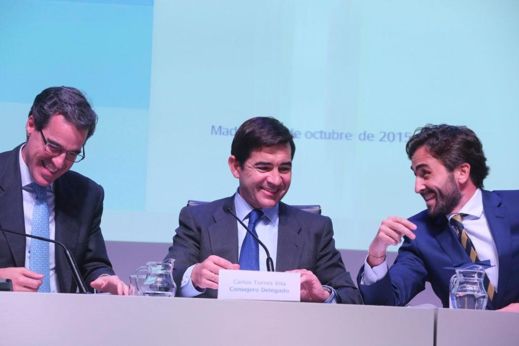 Jaime Sáenz de Tejada, Carlos Torres e Ignacio Jiménez en la presentación de 3T15