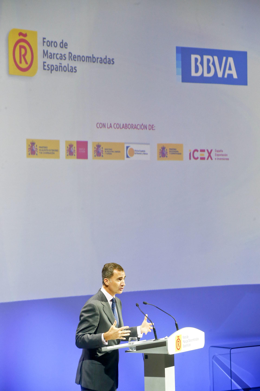 Fotografía del rey da un discurso en el foro de marcas españolas en Ciudad BBVA