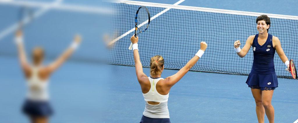 Fotografía Garbiñe Muguruza y Carla Suárez celebran una victoria en dobles del Abierto de China (Pekín)
