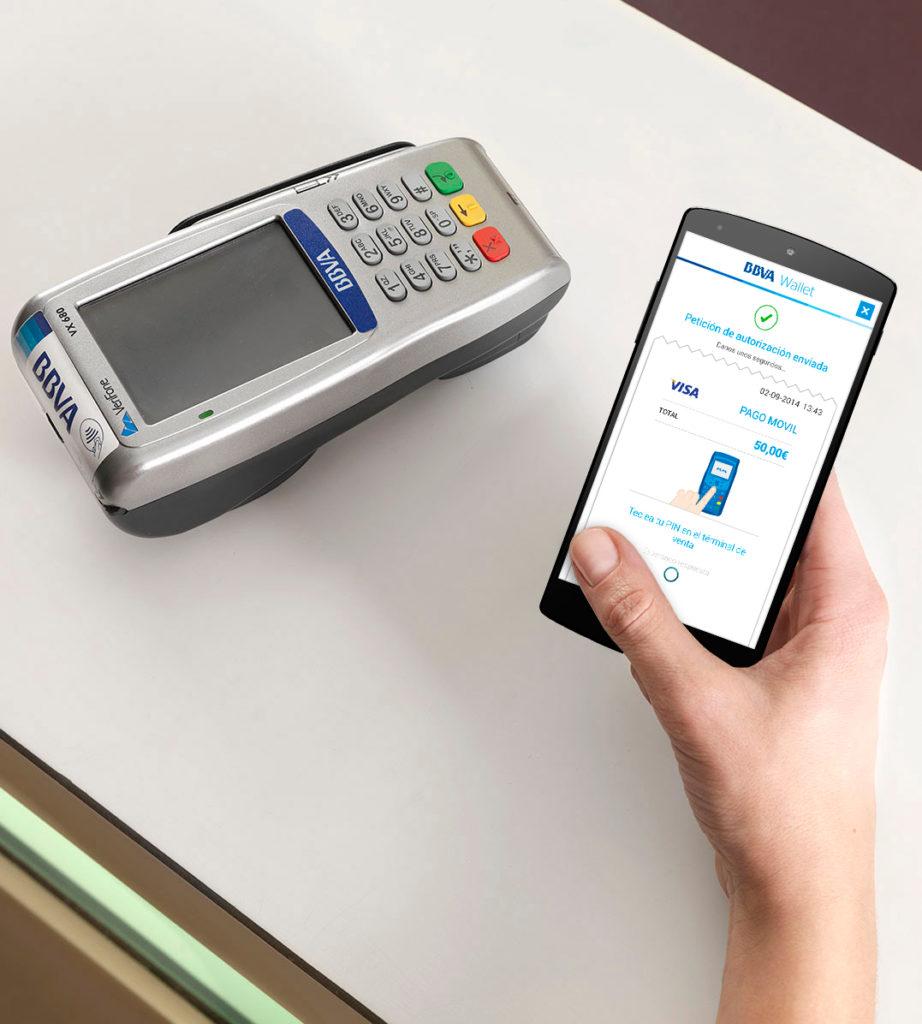 Recurso BBVA Wallet, NFC, contactless, TPV, pago móvil