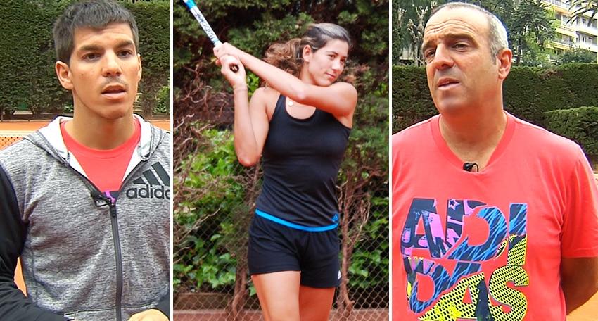 Fotografía Tríptico Garbiñe Muguruza, Ignasi de la Rosa (preparador físico y fisioterapeuta) y Alejo Mancisidor (ex entrenador)