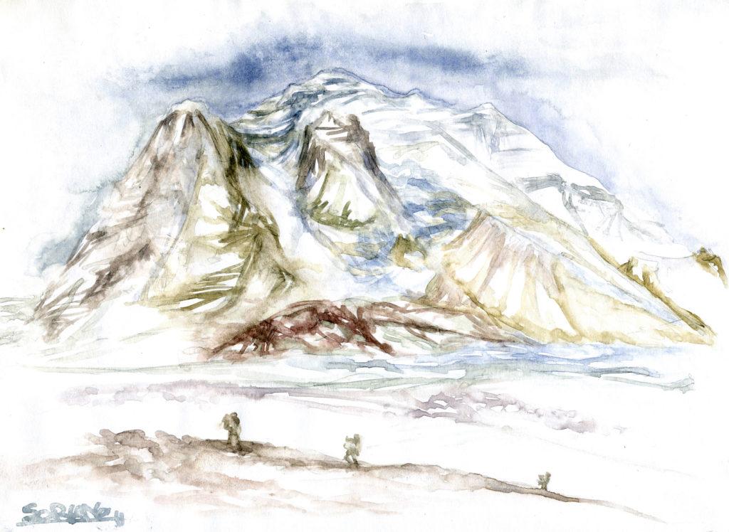 Fotografía acuarela del Dhaulagiri realizada por Luis Miguel López, cámara de la expedición BBVA-Carlos Soria