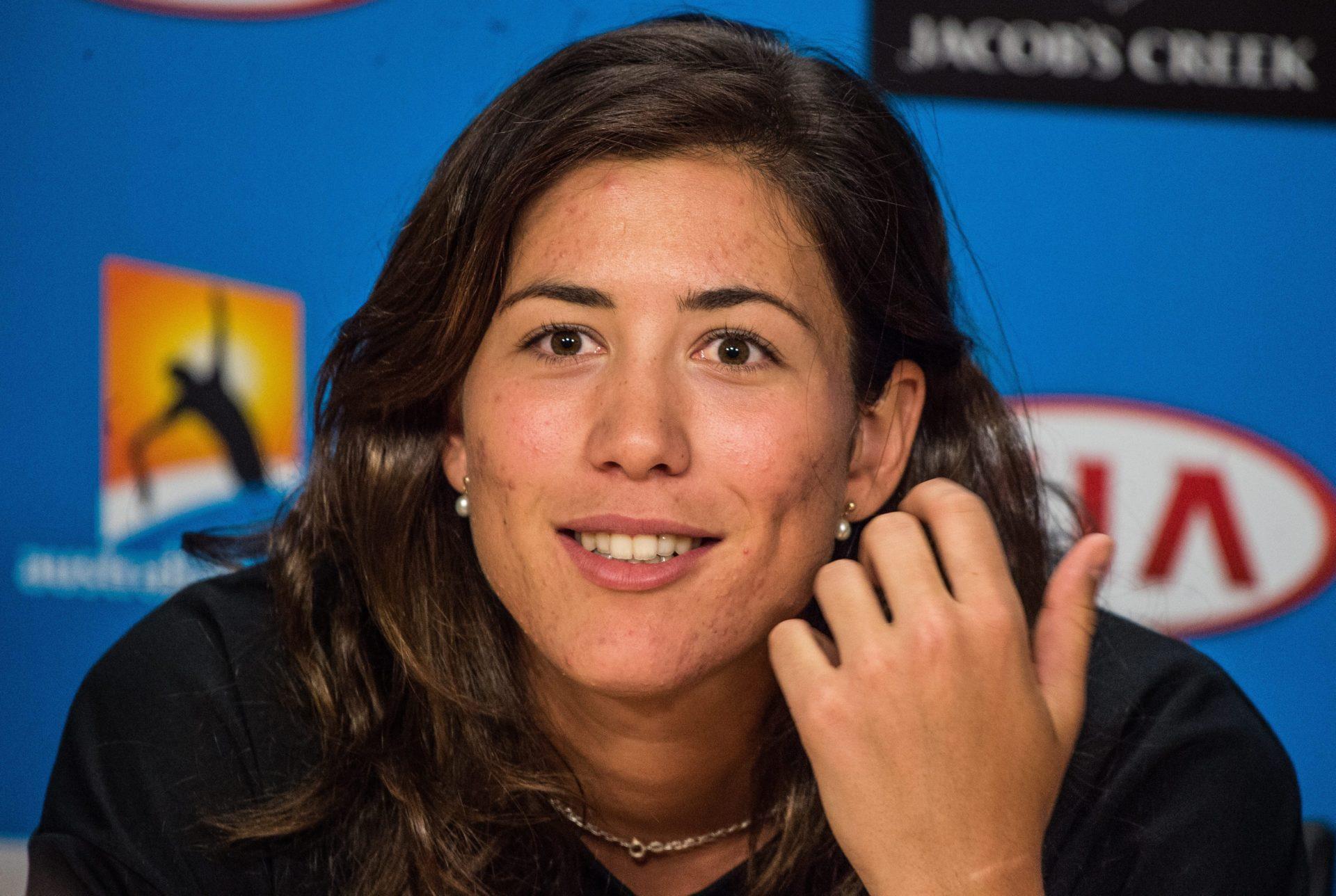 Fotografía Garbiñe Muguruza en la rueda de prensa previa al Open de Australia en Melbourne Park
