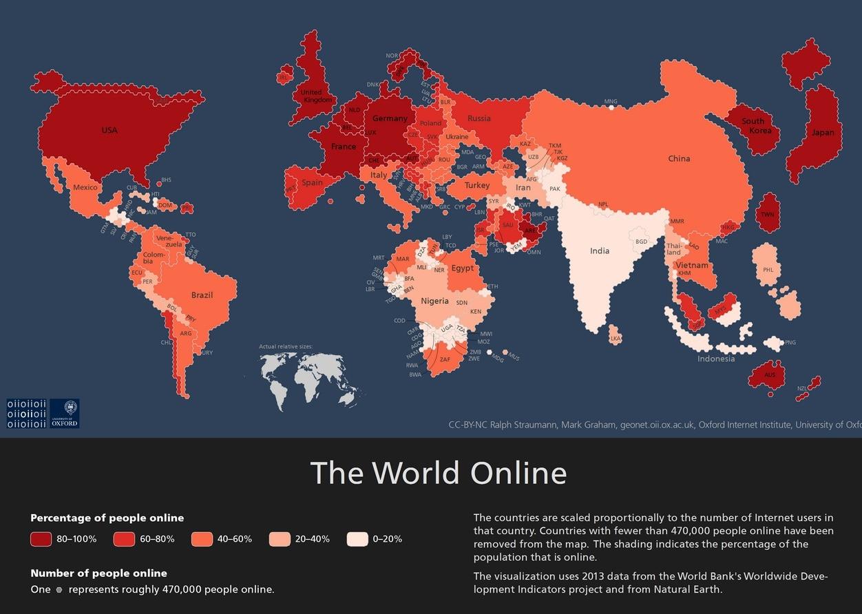 Así sería el mundo con el ratio de usuarios conectados
