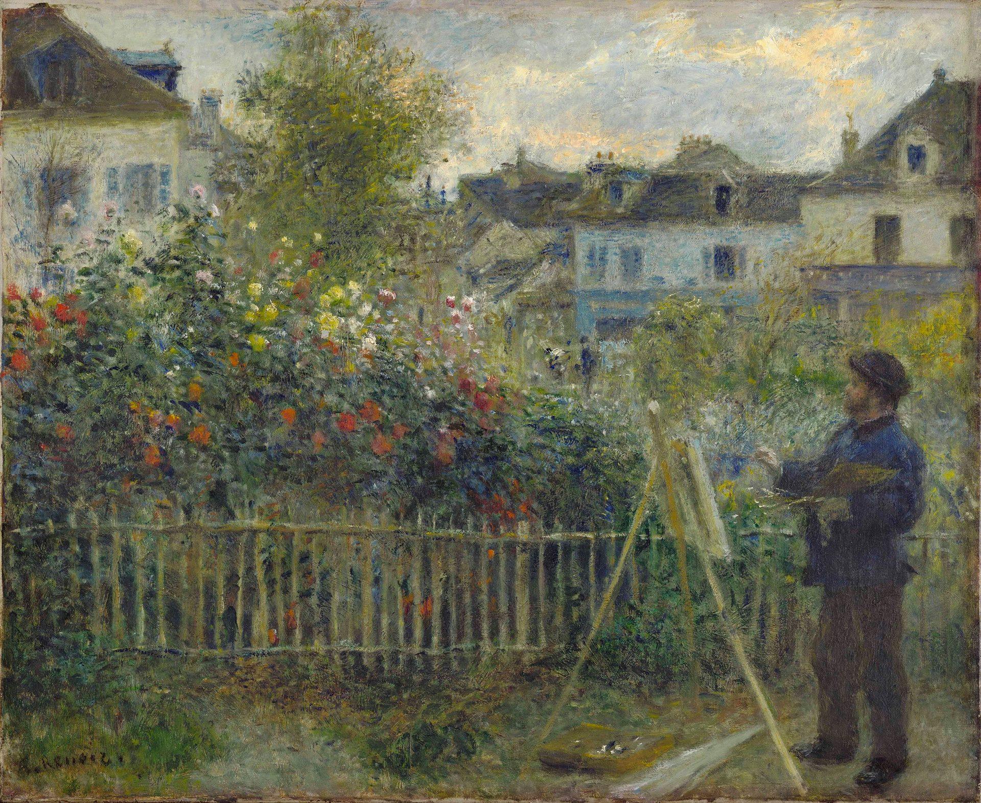 Imagen del cuadro Claude Monet pintando en su jardín. (1873 ) Pierre Auguste Renoir. Fotografía Wadsworth Atheneum Museum of Art, Hartford, CT