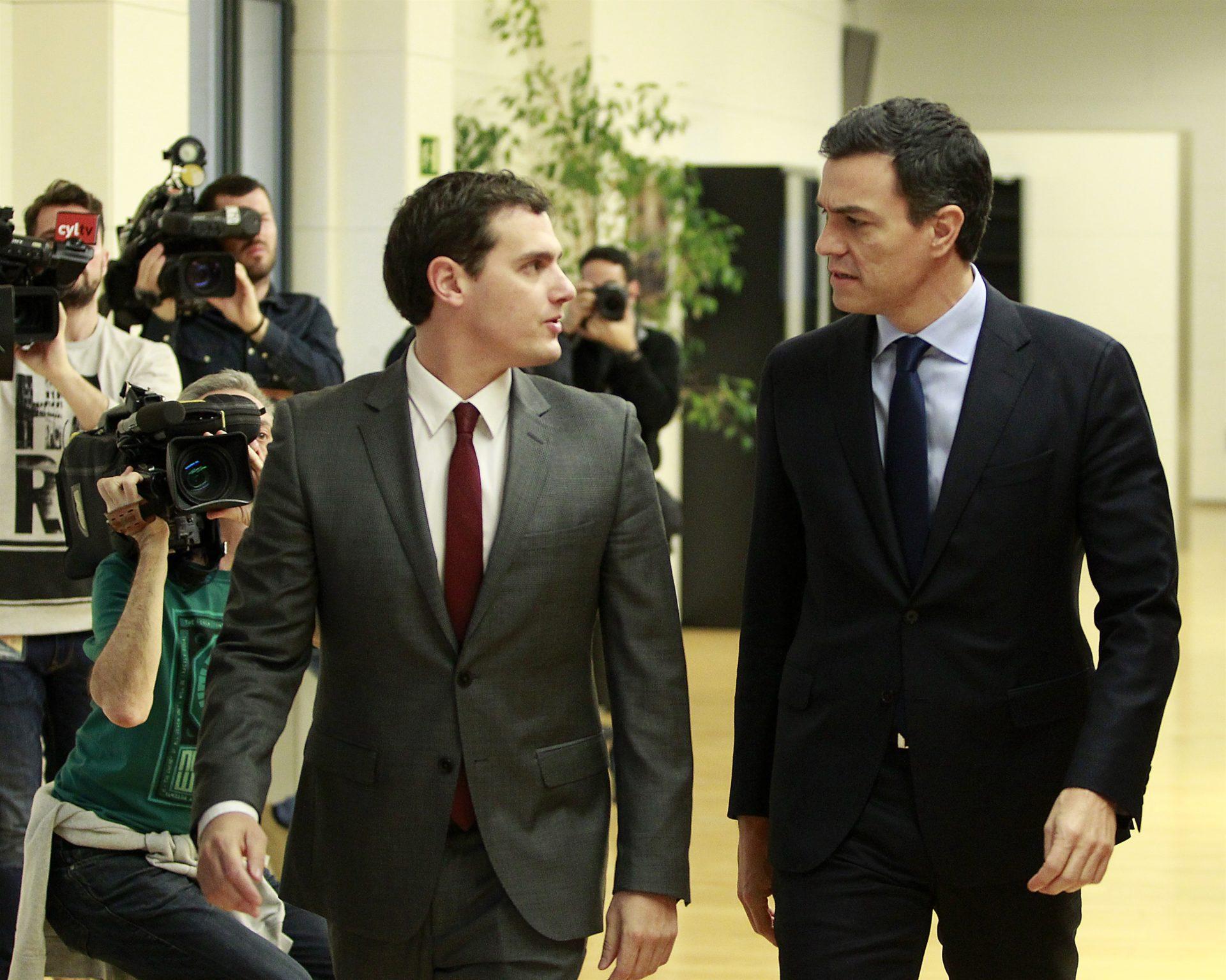 Pedro Sánchez y Albert Rivera, en el Congreso