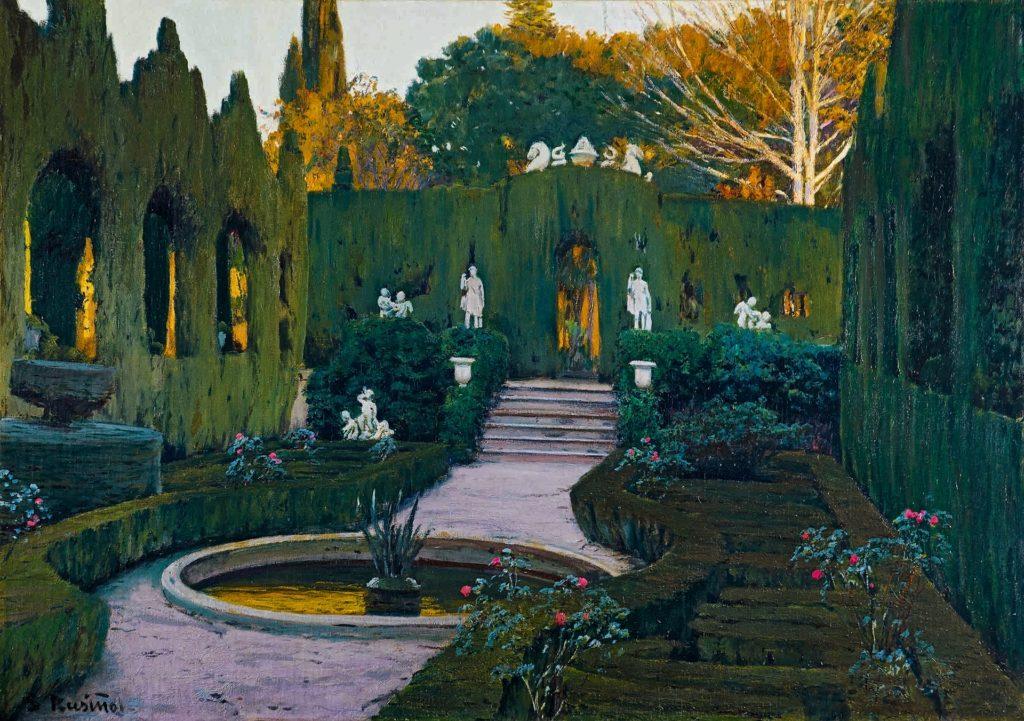 Imagen del cuadro Jardines de Monforte (h. 1917). Santiago Rusiñol. Fotografía Colección BBVA