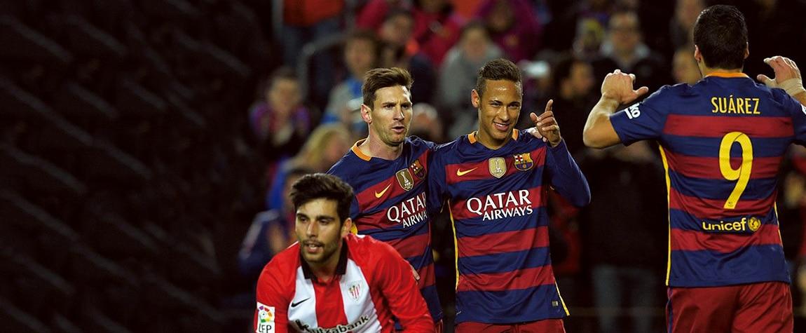 La 'MSN' celebra un gol en Liga BBVA