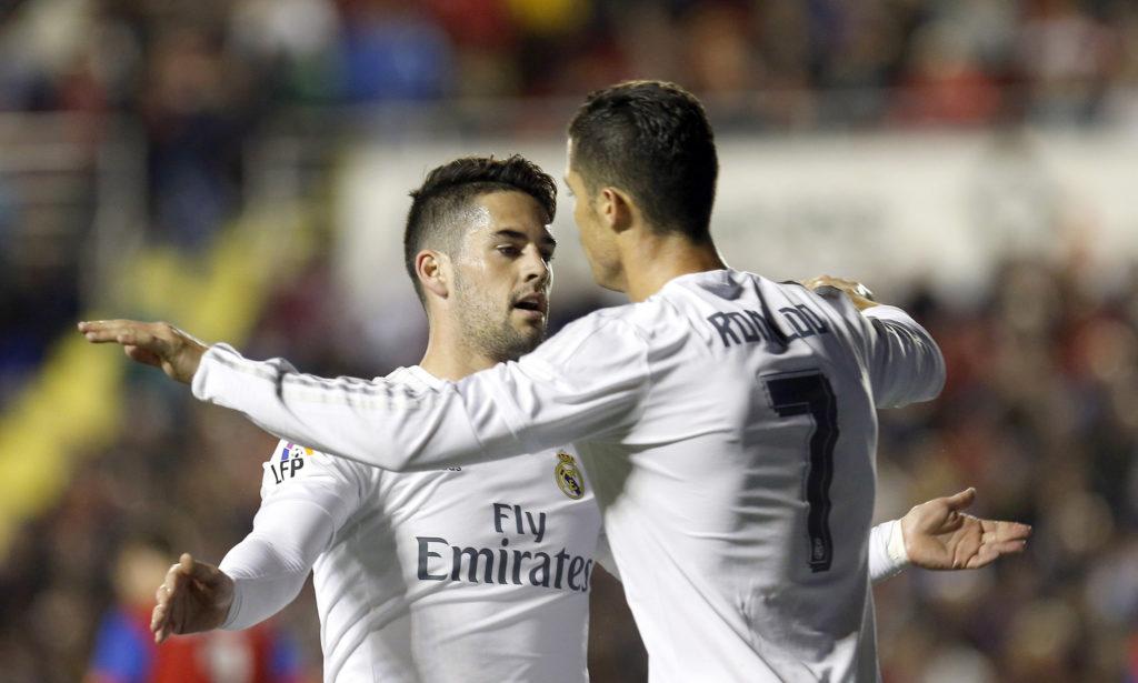 Cristiano y Borja Mayoral celebran un gol ante el Levante