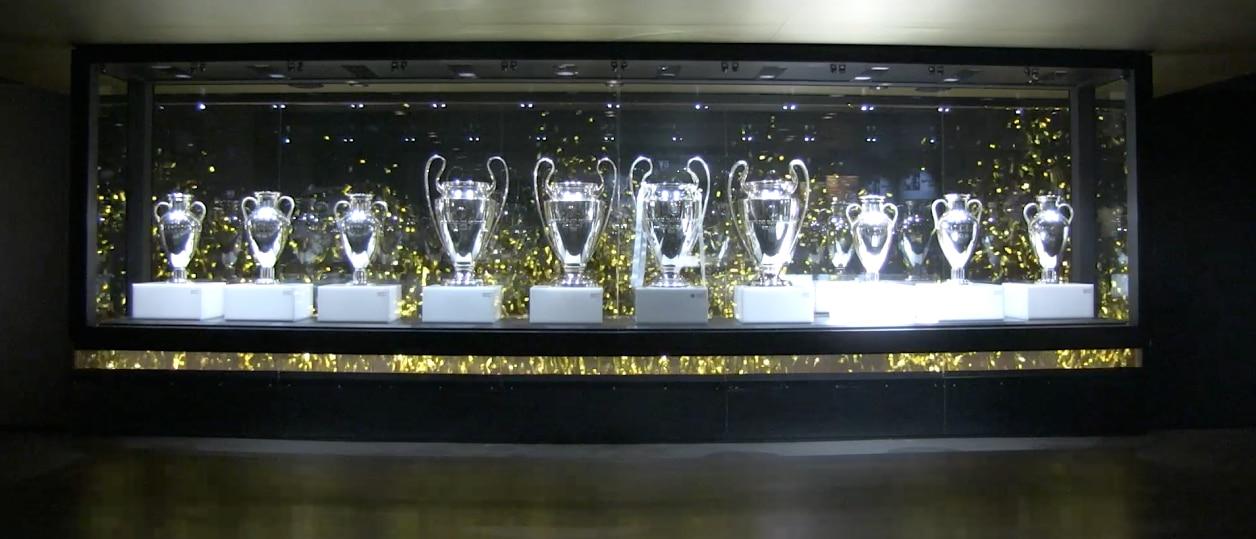 Imagen de las 10 Copas de Europa que tiene el Real Madrid en su museo