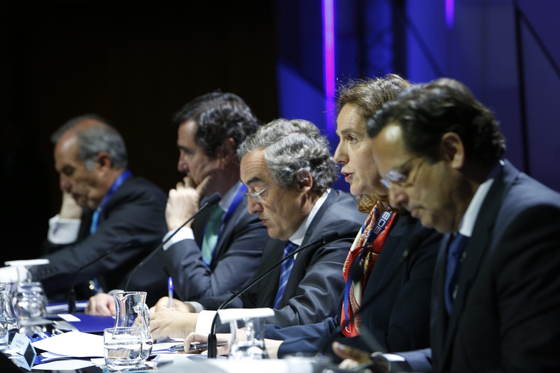Juan Rosell durante el acto de la CEOE en la Ciudad BBVA