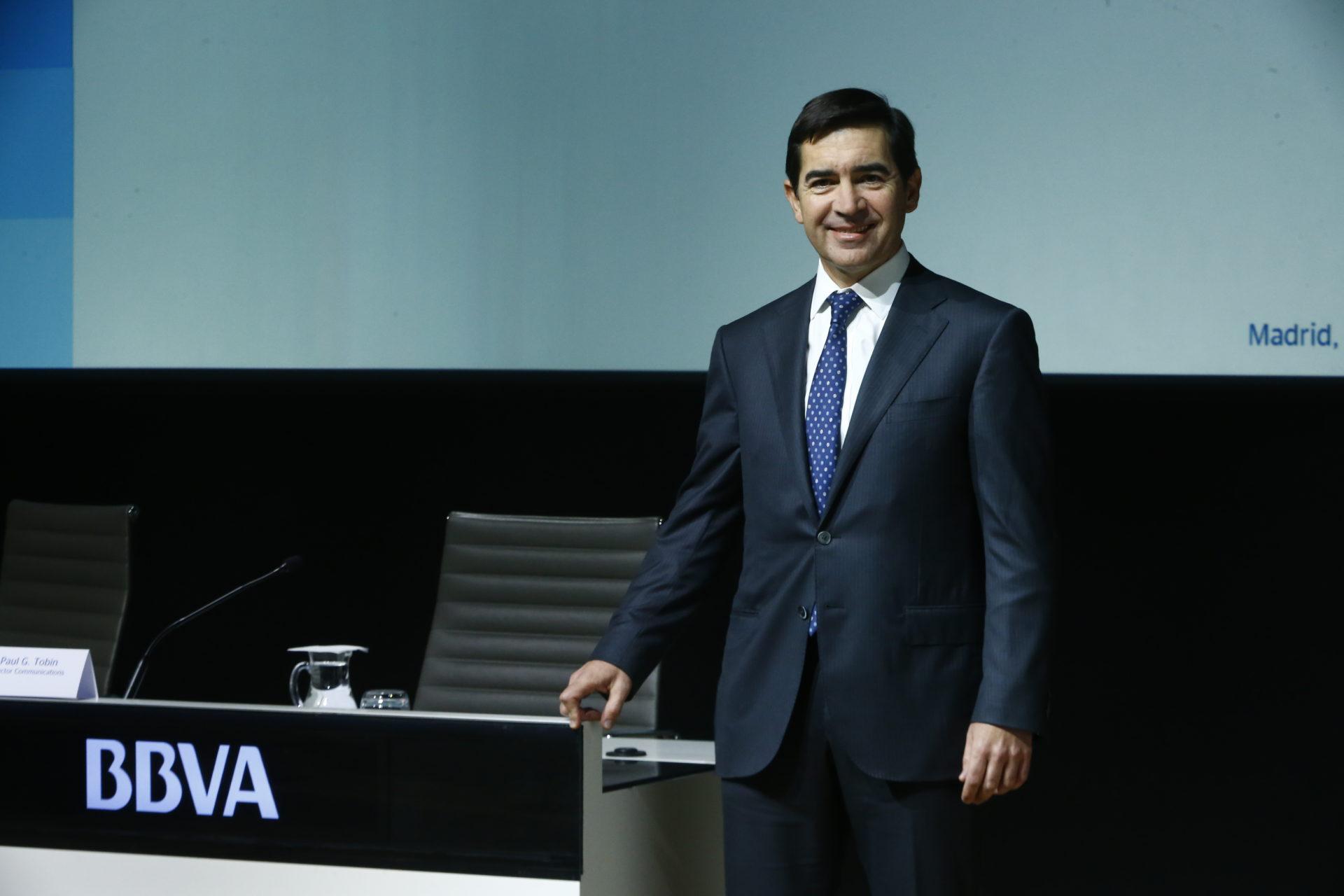 El consejero delegado de BBVA, Carlos Torres Vila, durante la presentación de resultados