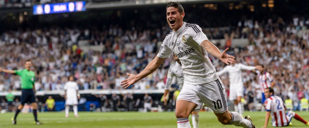 James celebra un gol con la camiseta del Real Madrid | Foto: EFE