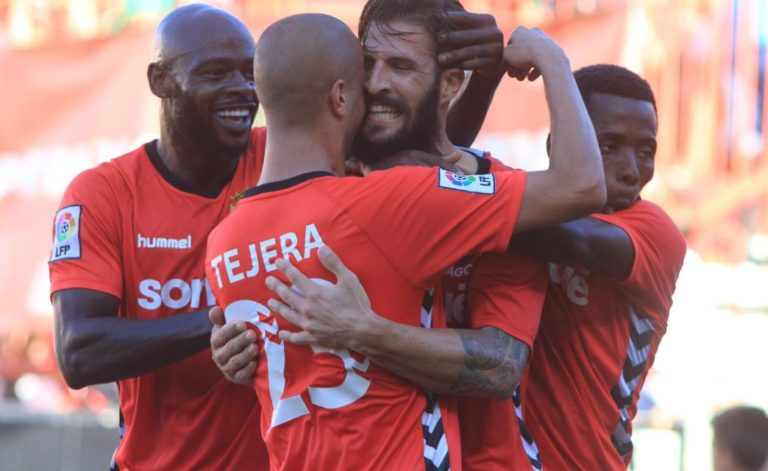 Los jugadores del Gimnàstic de Tarragona celebran un tanto durante un partido de la Liga Adelante | Foto: LaLiga