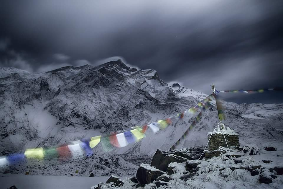 Fotografía de Nevada en el campo base del Annapurna