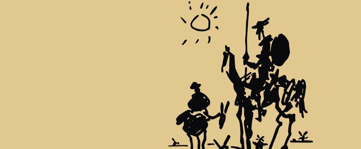Ilustración de Don Quijote de la Mancha y su escudero