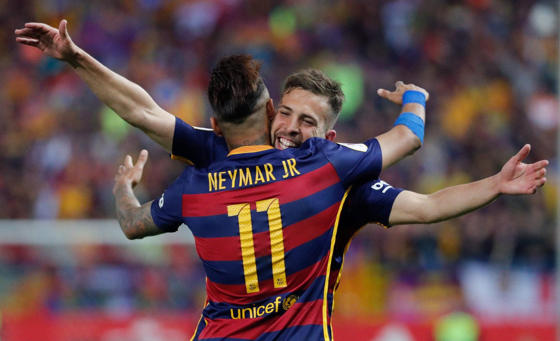 Fotografía de Jordi Alba y Neymar goleadores final Copa del Rey 2016-bbva