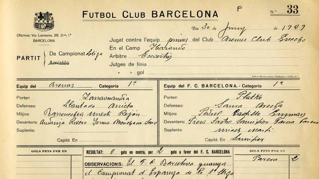 Ficha del partido que dio la primera Liga al Barcelona frente al Arenas de Getxo | Foto: FCBarcelona.es