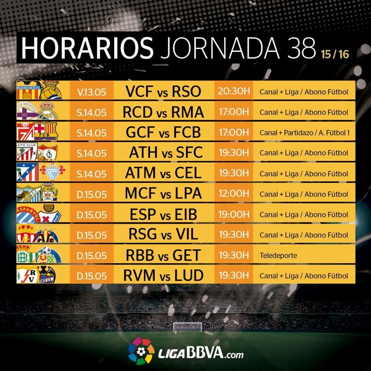 Horarios de la jornada 38 de la Liga BBVA