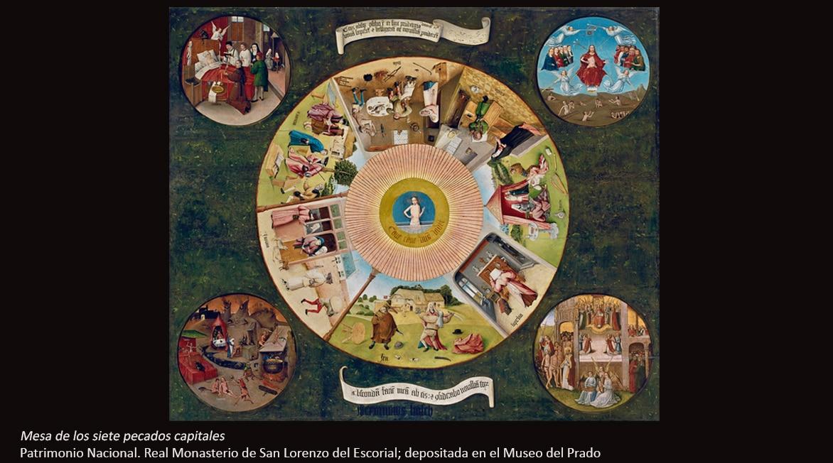 Fotografía de Mesa de los siete pecados capitales, El Bosco - BBVA Patrimonio Nacional. Real Monasterio de San Lorenzo del Escorial; depositada en el Museo del Prado