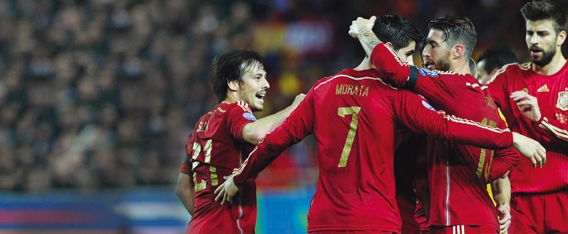 Fotografía de Morata, Sergio Ramos, David Silva, Piqué, selección española