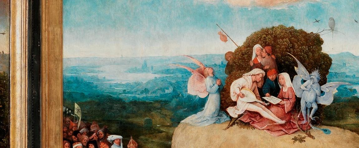 Fotografía de Detalle del tríptico Carro de heno del Bosco, expuesto con el patrocinio de la Fundación BBVA