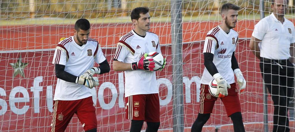 Casillas y De Gea, durante un entrenamiento | Foto: EFE