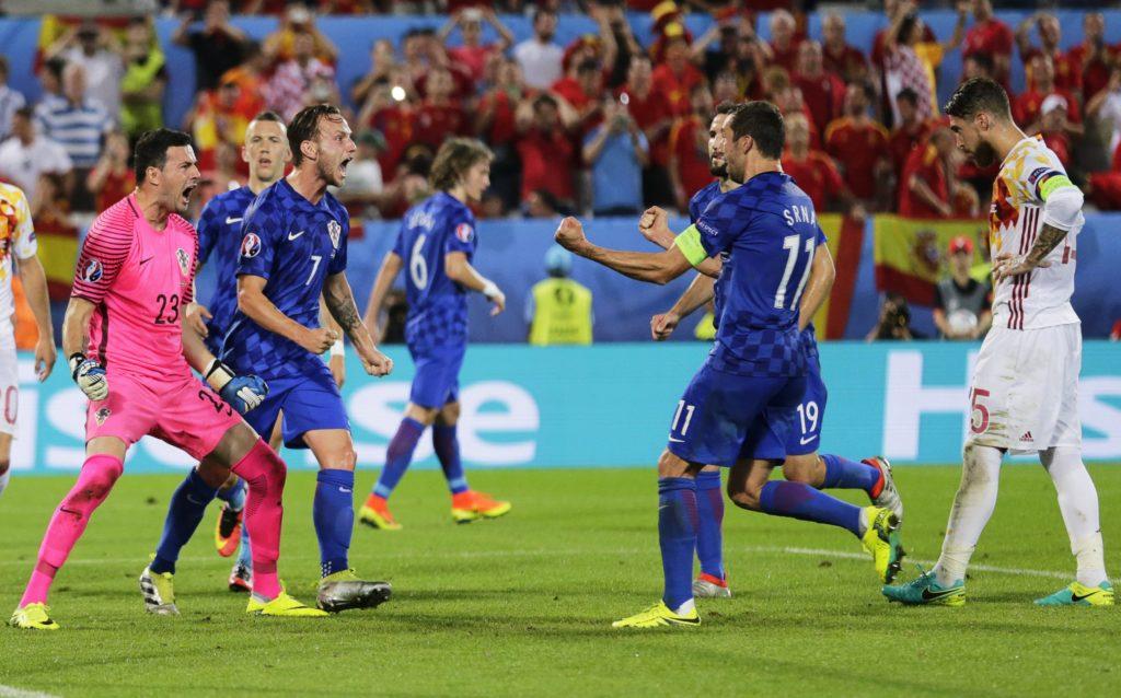 Croacia celebra el penalti parado a Sergio Ramos | Foto: EFE