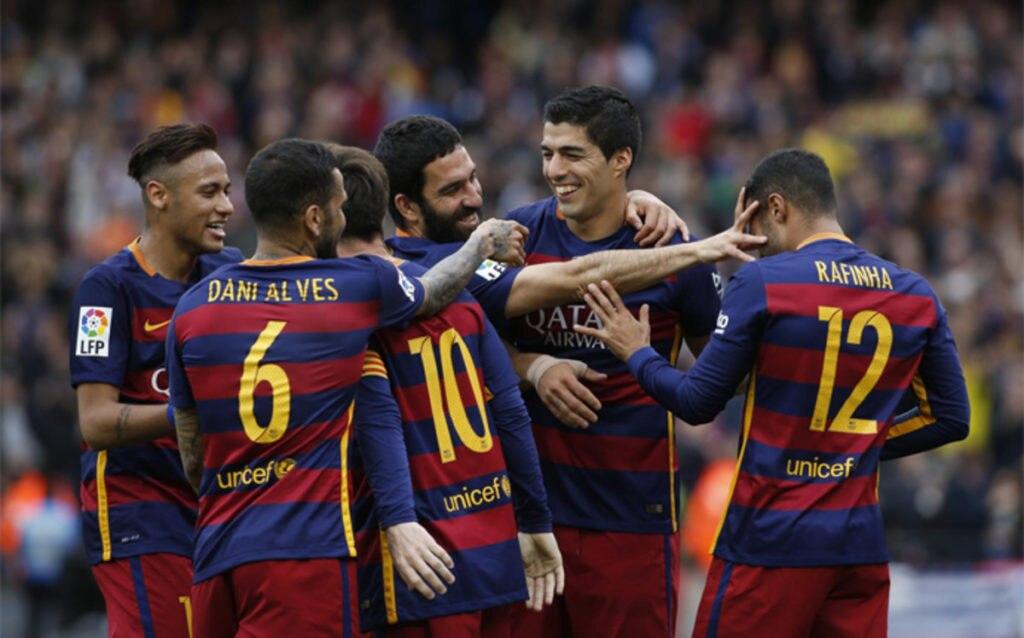 Fotografía de Los jugadores del F.C. Barcelona celebran un gol en Liga BBVA