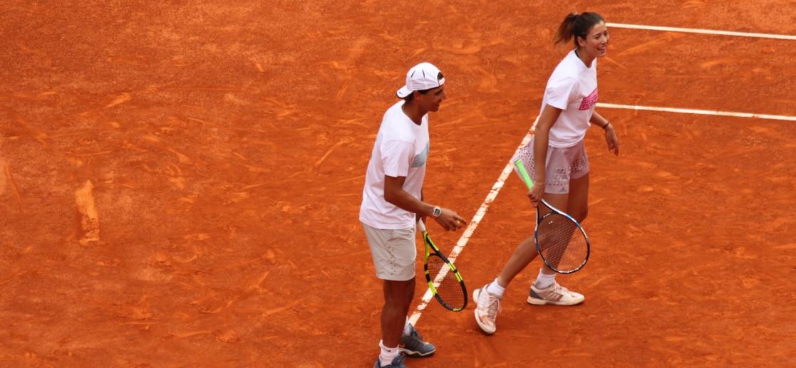 Rafa Nadal y Garbiñe Muguruza, durante un partido de dobles en Madrid | Foto: EFE