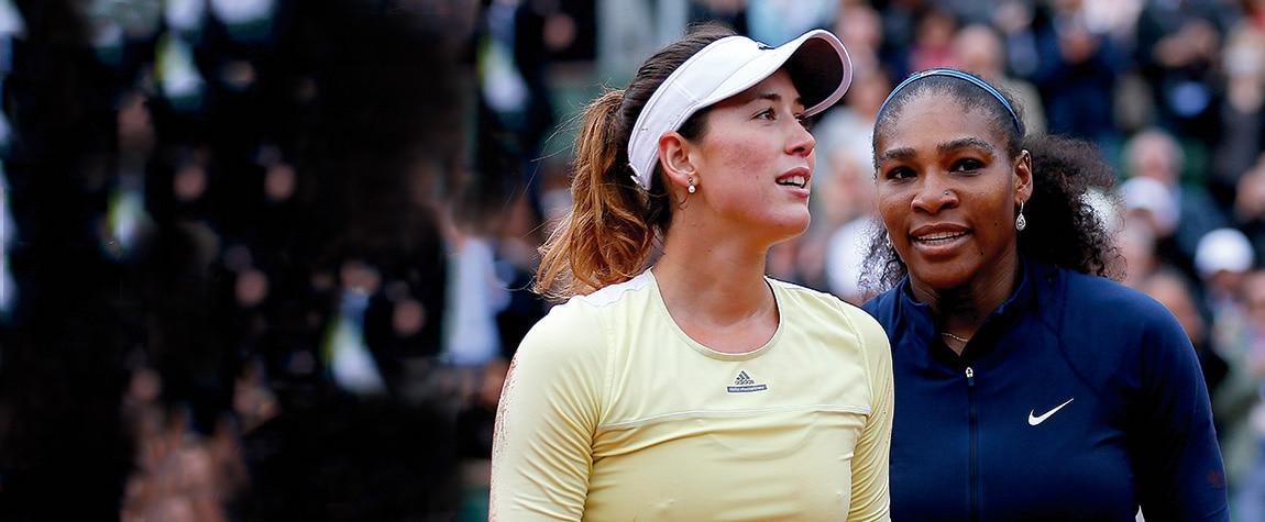 Fotografía de Garbiñe Muguruza y Serena Williams en la final de Roland Garros 2016