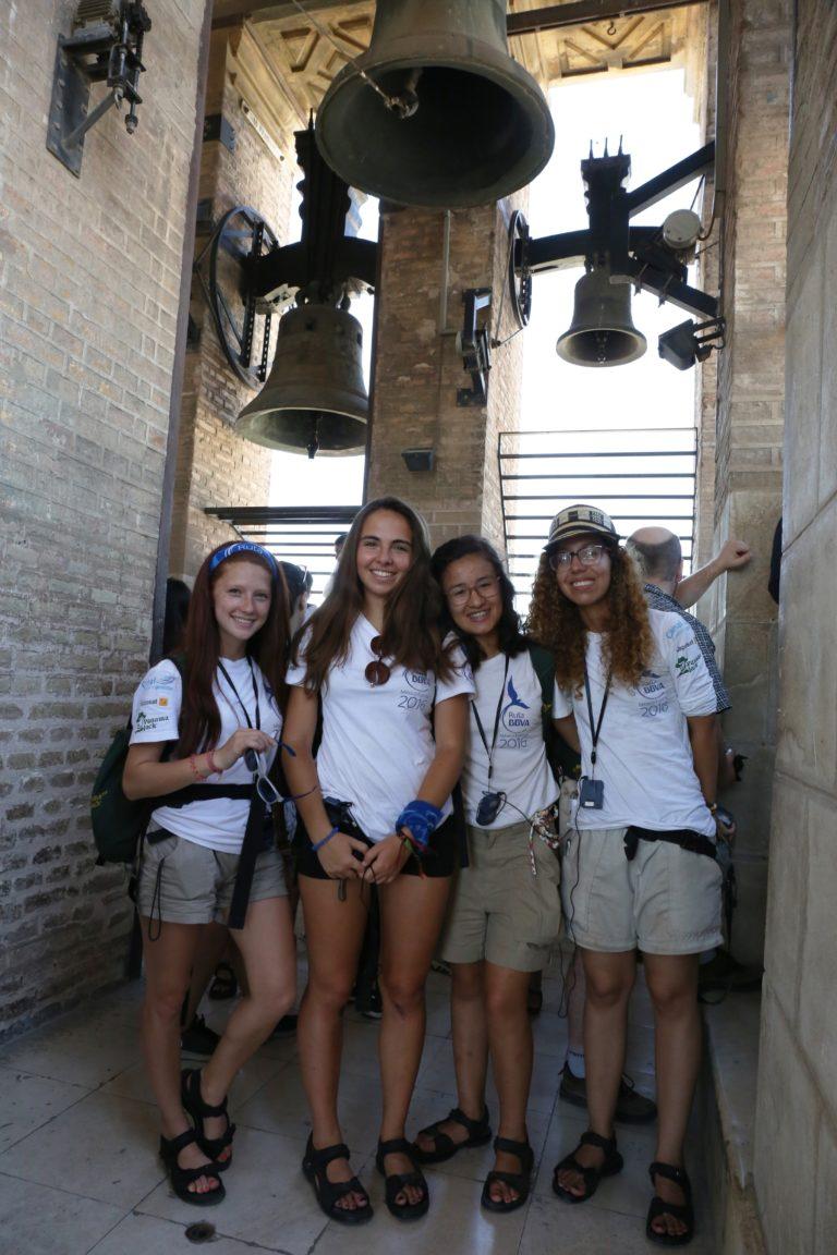 Expedicionarias de la Ruta BBVA en La Giralda de Sevilla