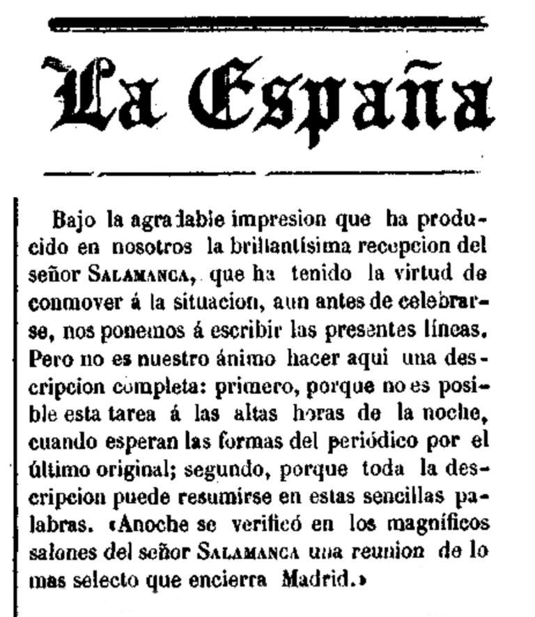 Fotografía del Periódico La España sobre el palacio del Marqués de Salamanca, Hemeroteca Digital de la Biblioteca Nacional de España