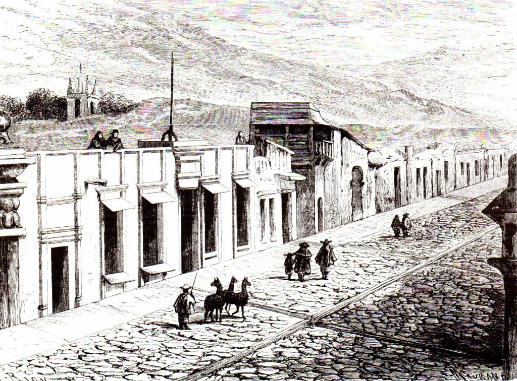 Dibujo de una calle arequipeña de Paul Marcoy en 1869. BBVA