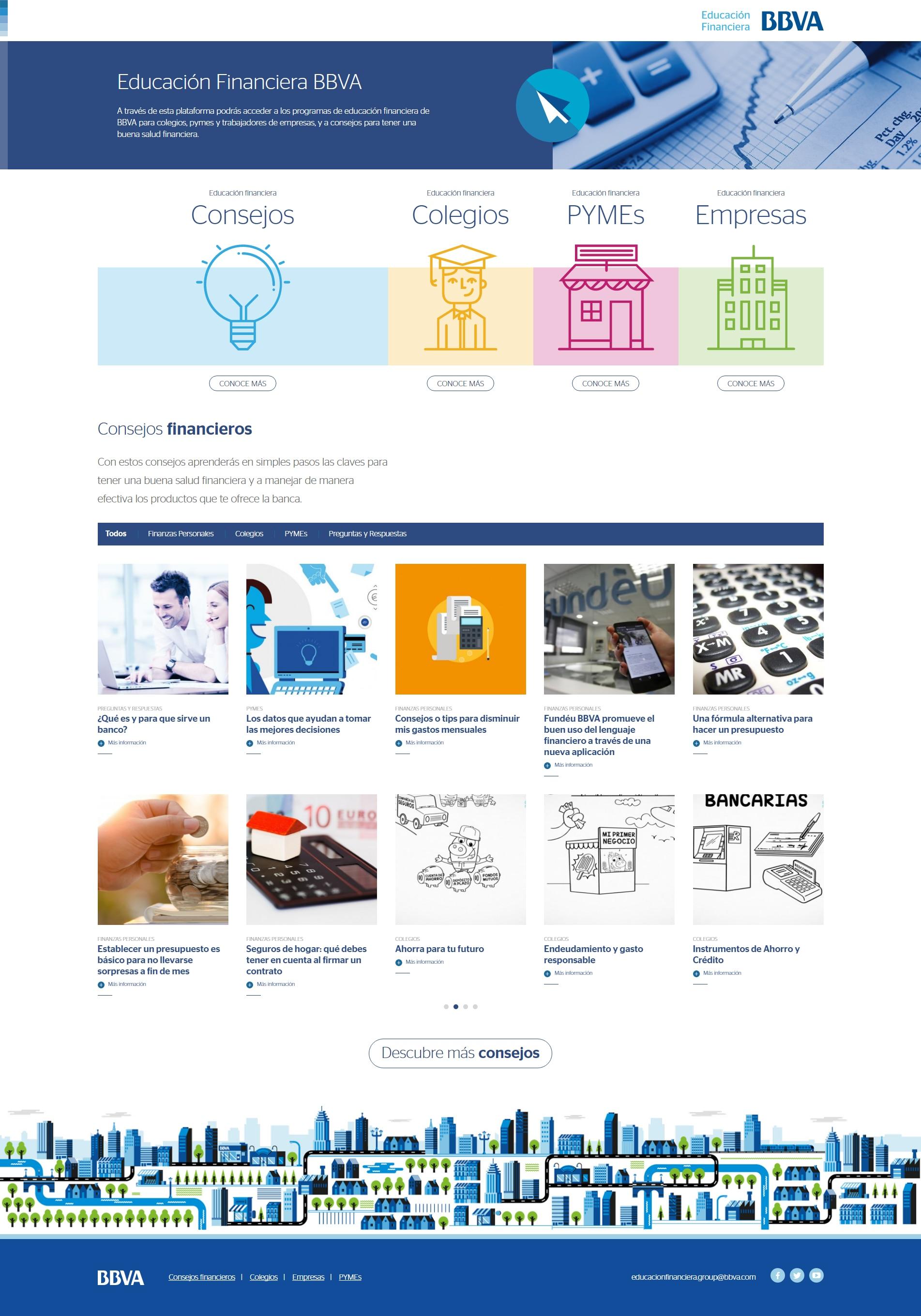 Imagen site de Educación Financiera de BBVA Chile