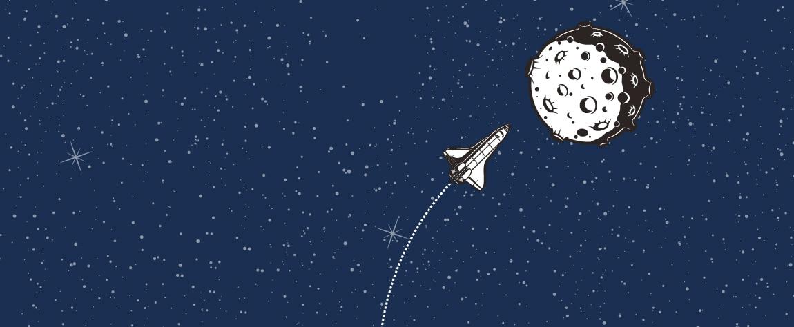 Nave espacial viaja a la luna por el espacio