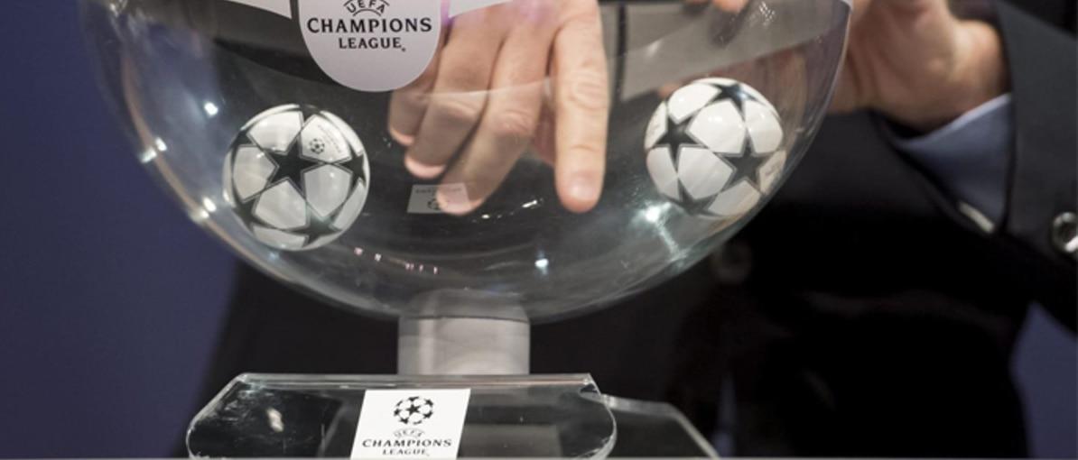 Bombo del sorteo de Champions   Foto: EFE