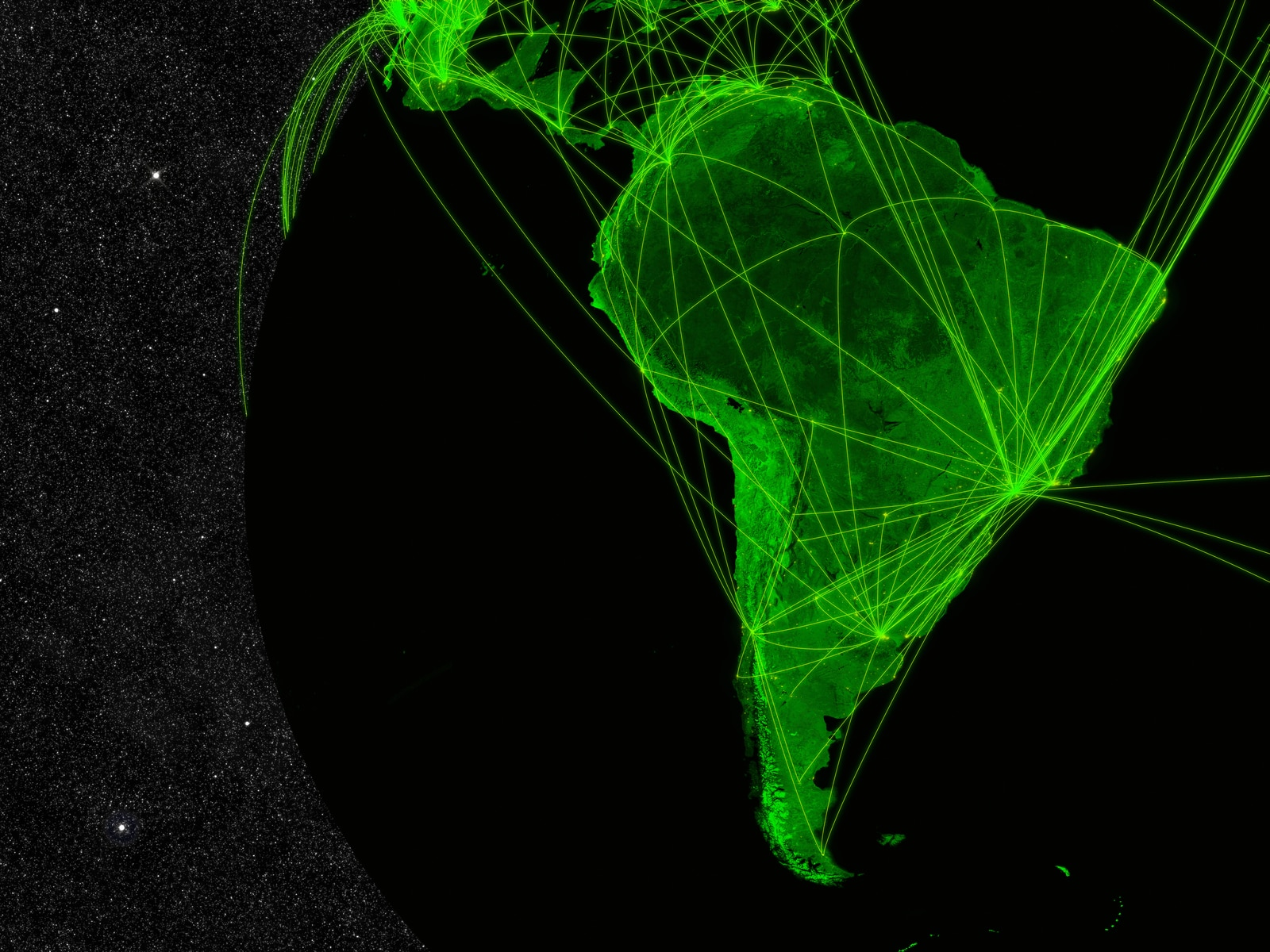 Network over South America. Information technology concept. Elements of this image furnished by NASA.