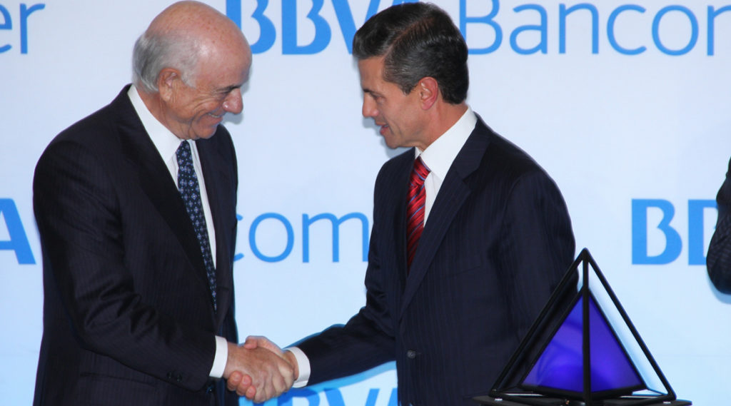 Fotografía de Febrero 2016 El Presidente Enrique Peña Nieto, acompañado por Francisco González, en la inauguración de la Torre BBVA Bancomer BBVA