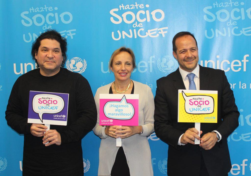 Gastón Acurio, María Luisa Fornara y Juan Fernando Maldonado en alianza entre BBVA Continental y UNICEF.