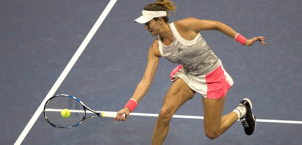 Garbiñe Muguruza, durante el partido ante Sevastova en el US Open   Foto: EFE