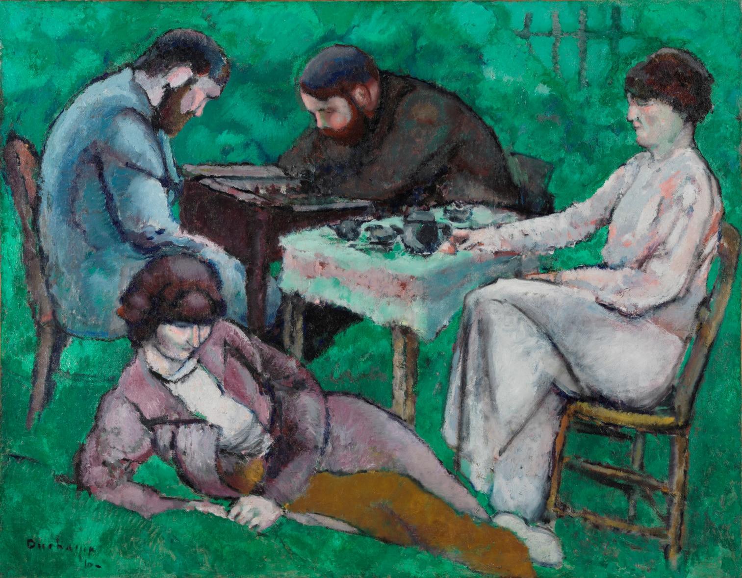 Cuadro La partida de ajedrez de Marcel Duchamp, incluido en la exposición patrocinada por la Fundación BBVA en la Fundación Miró de Barcelona
