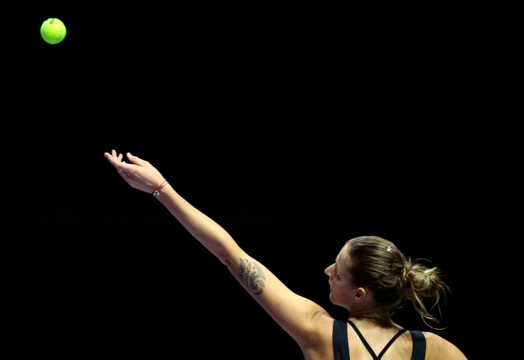 Pliskova, durante el WTA Finals y el partido ante Garbiñe Muguruza