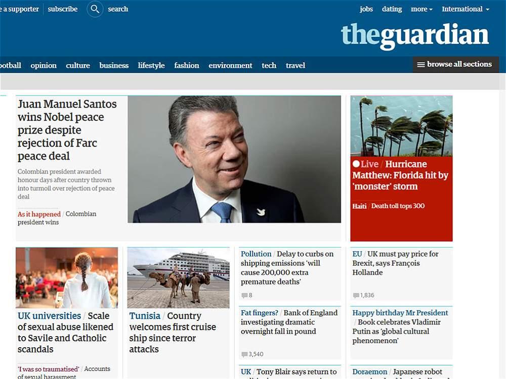 Fotografía de Titular Theguardian del Reino Unido: Juan Manuel Santos wins Nobel peace prize despite rejection of Farc peace deal