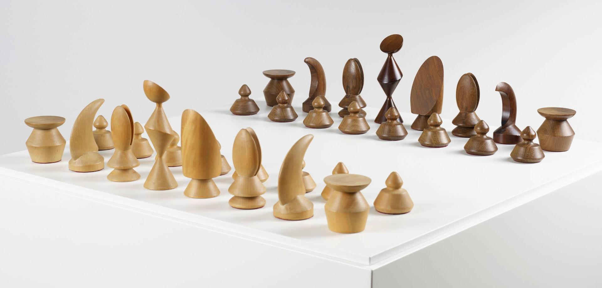 Imagen del Juego de ajedrez diseñado por de Max Ernst que se exhibe en la exposición patrocinada por la Fundación BBVA en la Fundación Miró
