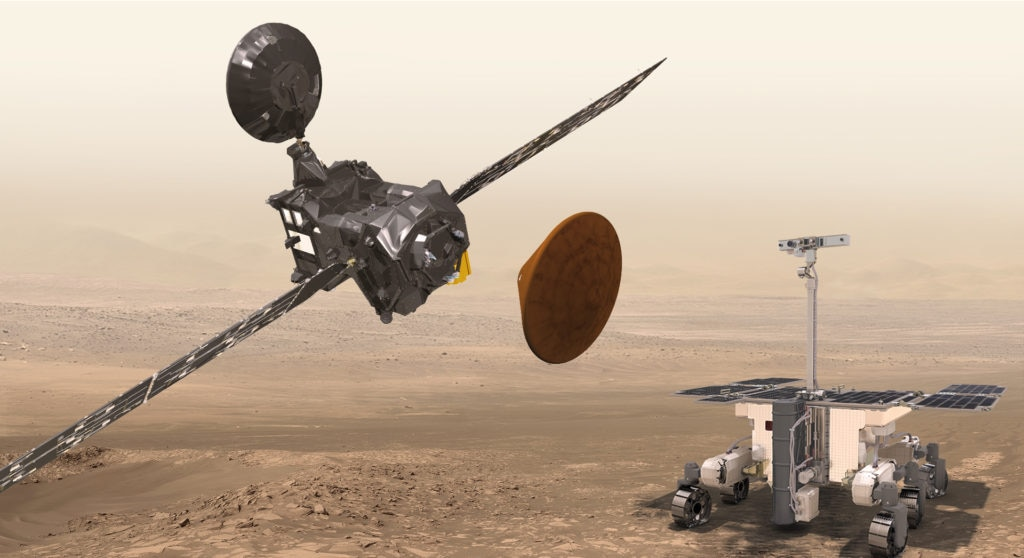 Imagen de las naves de la Agencia Espacial Europea que buscará vida en Marte.