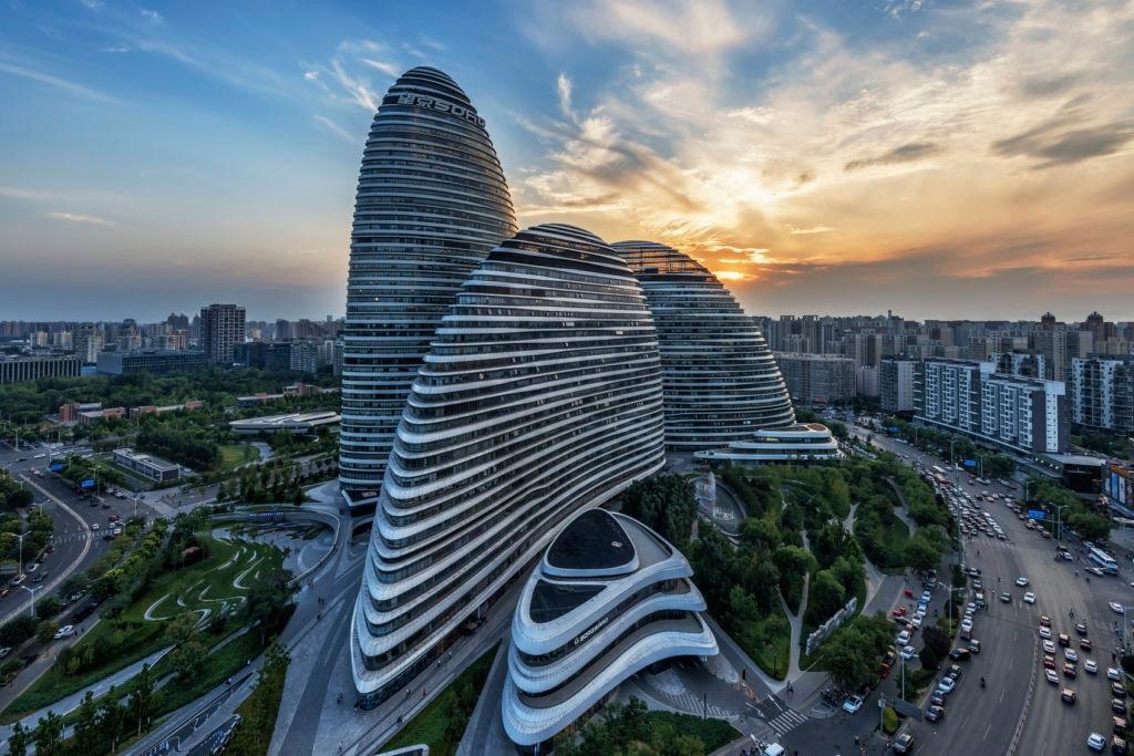Fotografía de Wangjing Soho obra de Zaha Hadid en Pekín