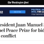 Fotografía de Titular de The Washington Post de Estados Unidos: Colombia President Juan Manuel Santos awarded Nobel Peace Prize for bid to end halg-century conflict